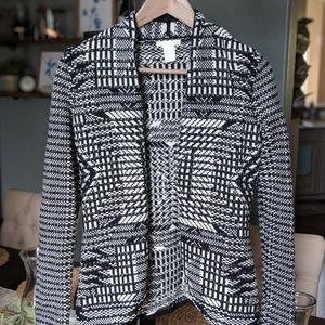 NWOT Black & White Patterned Blazer (xs)